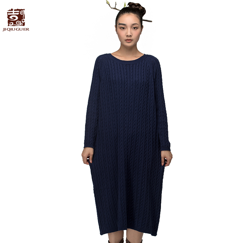 Jiqiugue Women Cotton Knitted Sweater Dress Vintage Plus Size O-neck Full Sleeve Loose Long Casual Lady Autumn Vestidos G153M002