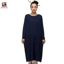 Jiqiugue Для женщин Хлопковый вязаный свитер платье Винтаж плюс Размеры круглым вырезом длинный рукав свободные длинные Повседневное Леди Осень Vestidos G153M002