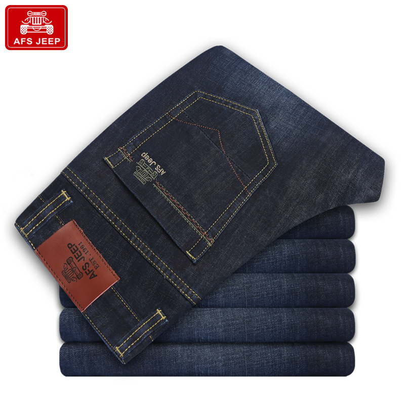 AFS JEEP Mans Denim Pants Fitness Man Straight motorcycle Jeans High Quality business Casual Trousers Straight men Jeans