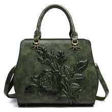 Women Luxury Handbag Female Embossed Floral Messenger Crossbody Bag Bra