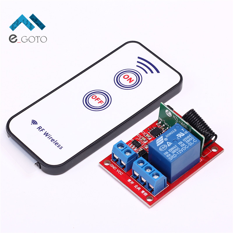12V 40mA 1 Channel Self-Lock Wireless Receiver Relay Module + 2 Key RF 433MHz Wireless Remote Control Switch 15-30m