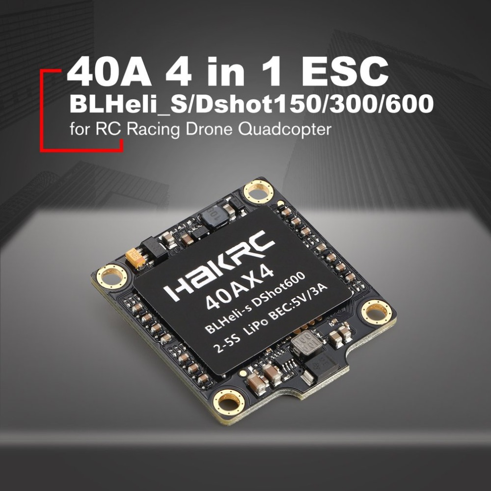 40A 4 in 1 BLHeli_S/Dshot150/300/600 ESC Speed Controller with 5V BEC for RC Racing Drone Quadcopter Multicopter Accessories40A 4 in 1 BLHeli_S/Dshot150/300/600 ESC Speed Controller with 5V BEC for RC Racing Drone Quadcopter Multicopter Accessories