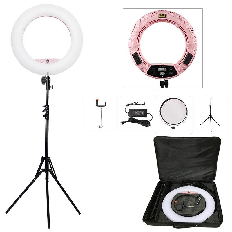Yidoblo розовый FD-480II 18 затемнения светодиодный кольцо лампы комплекты 480 светодиодный Studio Видео свет лампы фотографическое освещение + подста...