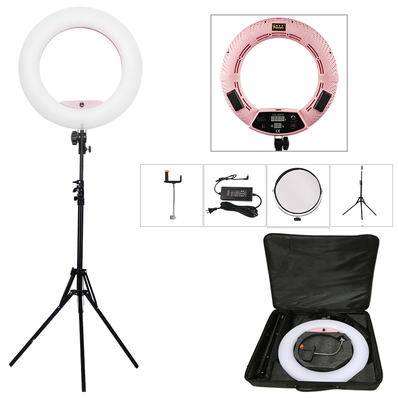 "Yidoblo Pink FD-480II 18 ""Dimbare LED Ringlamp Sets 480 LED Studio Video Lamp Lamp Fotografische Verlichting + standaard (2M) + tas"