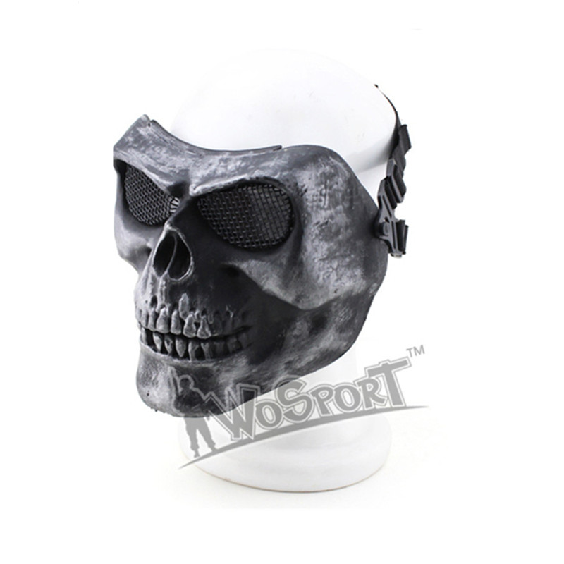 WoSporT Tactical Paintball Full Face Mask Steel Mesh Ghost Skull Halloween Party Cosplay Mask Outdoor Paintball Accessories