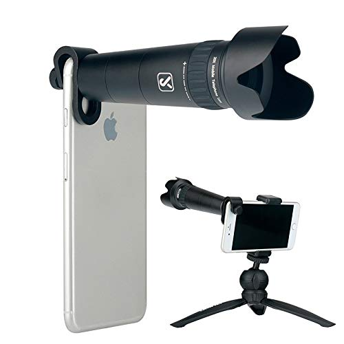 Ulanzi 20X Zoom Telephoto Lens Cell Phone Camera Lens Kit Include Mini Tripod Lens Hood for iPhone X XS/8/7 Plus Samsung Xiaomi