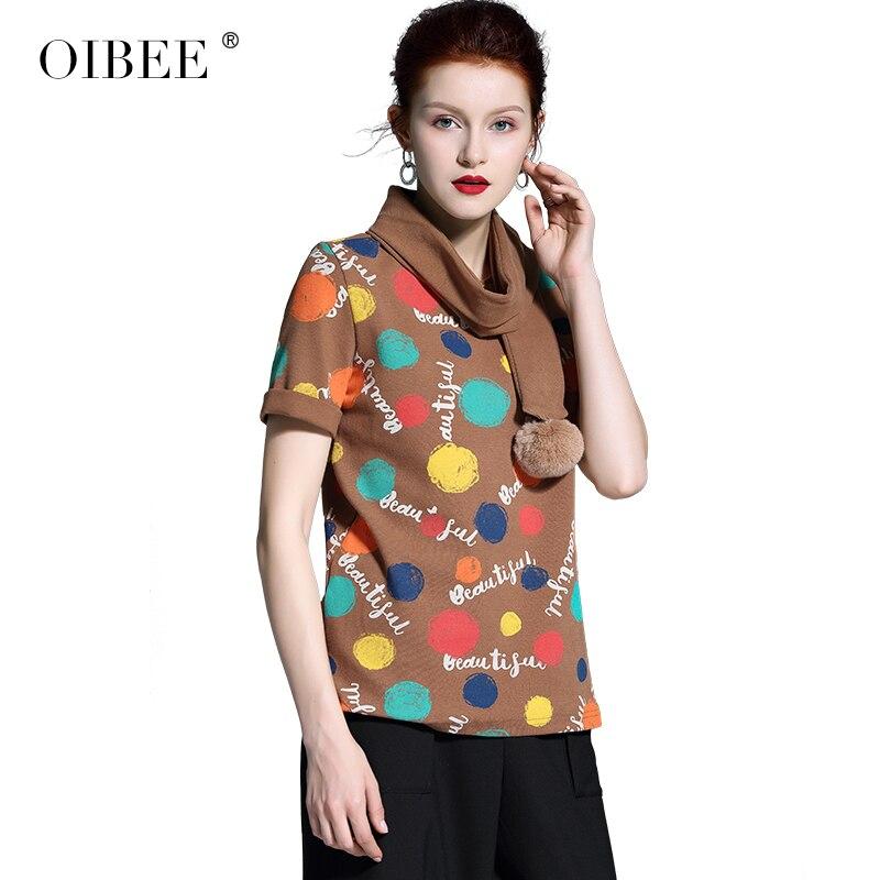 OIBEE2019 primavera mujer nueva moda impresión Rosa Camiseta de manga corta Camisa bufanda camisa de dos piezas