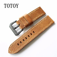 Italy Retro Oil Wax Leather Watchbands 20MM 22MM 24MM For PAM111 Calfskin Strap Handmade Men Watchbands