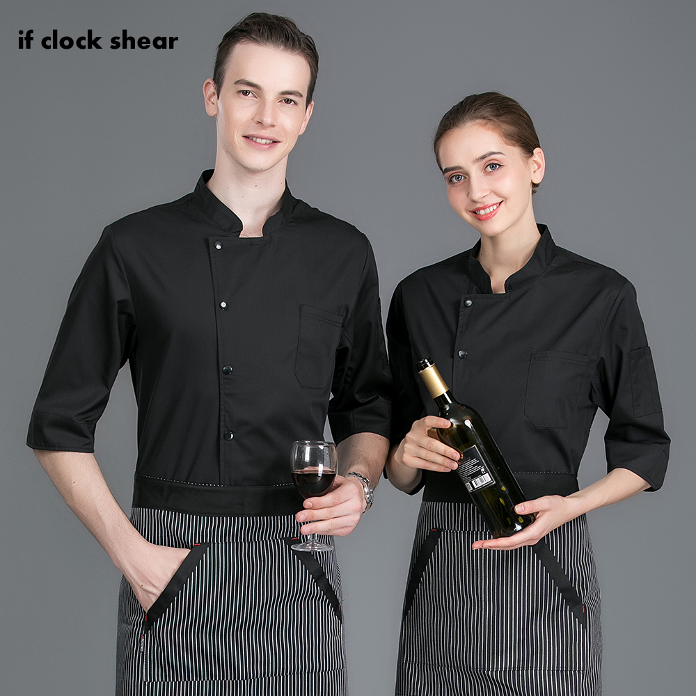 IF 7-point Sleeve Chef Work Shirt Double Breasted Restaurant Kitchen Chef Cook Jacket Catering Waiter Waitress Uniform Wholesale