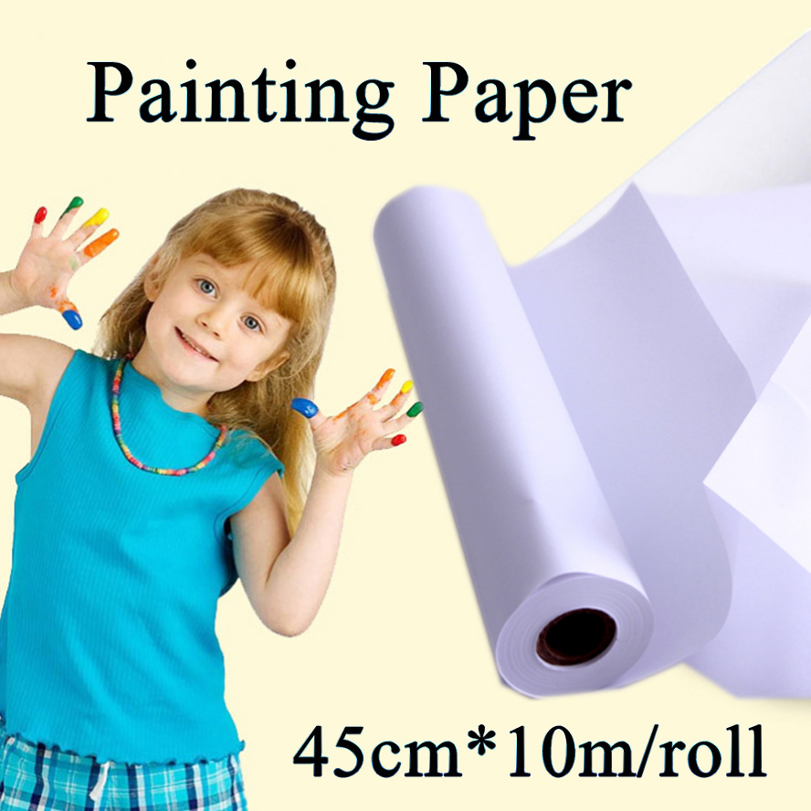 45cm*10m Painting Paper Roll Children Art Sketch Paint Painting Board water color Paper 45cm 10m water color painting paper a2 watercolor paper for acrylic paint painting drawing art set rice paper roll