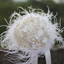 IFFO White Ostrich feather brooch Bridal Bride Bouquets