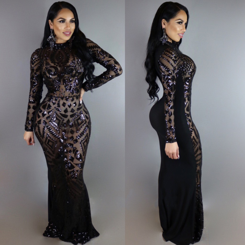 2018 Sexy Perspective Long Sleeve Black Sequined Party Dress Bodycon O Neck Paty Dress Tight Package Dress Vestidos De Fiesta