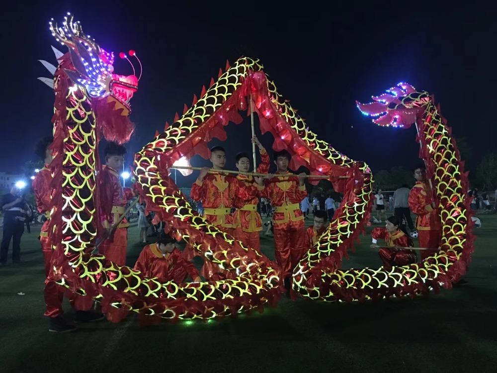 4m Length Size 5 Gold plated 4 student LED lights Chinese DRAGON DANCE ORIGINAL Dragon lantern stage prop Festival Costume