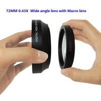 Digitale Ad Alta Definizione 72 MM 0.43X Obiettivo Grandangolare con Macro Lens per cannone nikon qualsiasi dslr obiettivo della fotocamera con 72mm filtro formato
