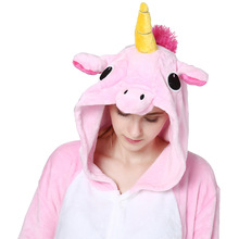Pink Unicorn Pajamas Sets Flannel Animal Pajamas Winter Nightie Stitch Unicornio Women Men Adults Onesie Panda Kigurumi Tiger