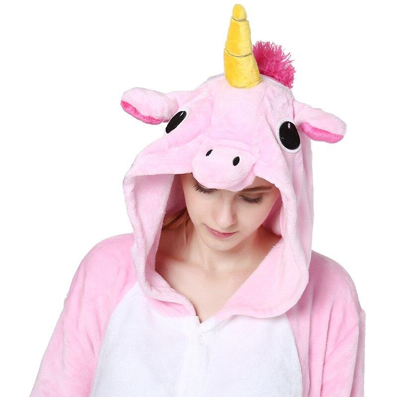Pink Unicorn Pajamas Sets Flannel Animal Pajamas Winter Nightie Stitch Unicornio Women Men Adults Onesie Panda