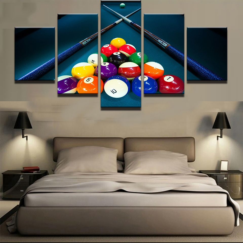 5 Panel Sports Color Billiards Pictures Painting Wall Art Modular Poster Printed Home Decor Modern Canvas Living Room