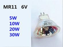 Mr11 holofote de 6v, 5w, 10w, 20w, 30w, lâmpada para microscópio, 6v, mr11, instrumento mecânico holofote de lâmpada diâmetro 35mm 6v mr11 30w