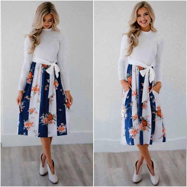 AiiaBestProducts - Autumn and winter women's fashion print stitching pocket tie long sleeve 1
