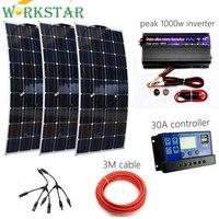 300 Вт Солнечная система Комплект для начинающих Гибкая солнечная панель с контроллером 30A Вт и 1000 Вт чистый синусоидальный инвертор для В 12 в
