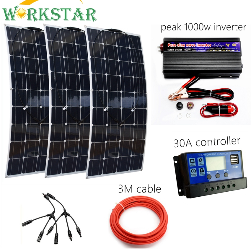 300W Solar System Kit for Beginner Flexible Solar Panel with 30A Controller and 1000W Pure Sine Inverter For 12V Battery Charger 4pcs 100w flexible solar panel with mppt 30a controller and mc4 y connectors for 12v battery solar charger houseuse solar kit