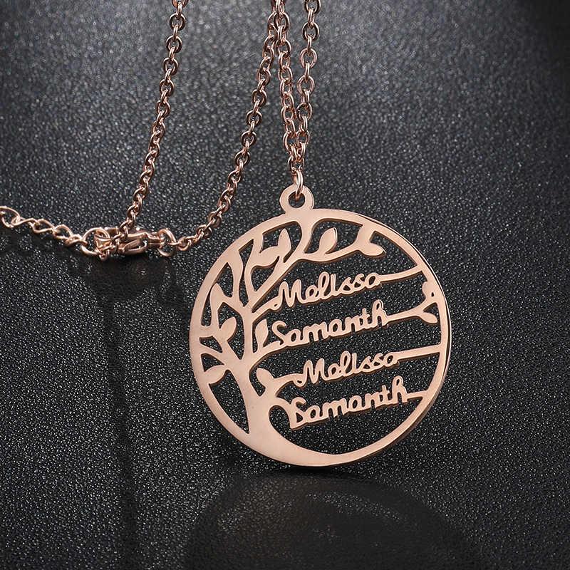 ส่วนบุคคล Tree of Life แกะสลักชื่อสร้อยคอสแตนเลสที่กำหนดเองสร้อยคอและจี้ของขวัญครอบครัวเครื่องประดับ