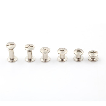 20PCS/lot New Nickel Binding Chicago Screws Nail Rivets Photo Album Leather Craft M5 4/5/6/8/10/12MM Butt Rivets image