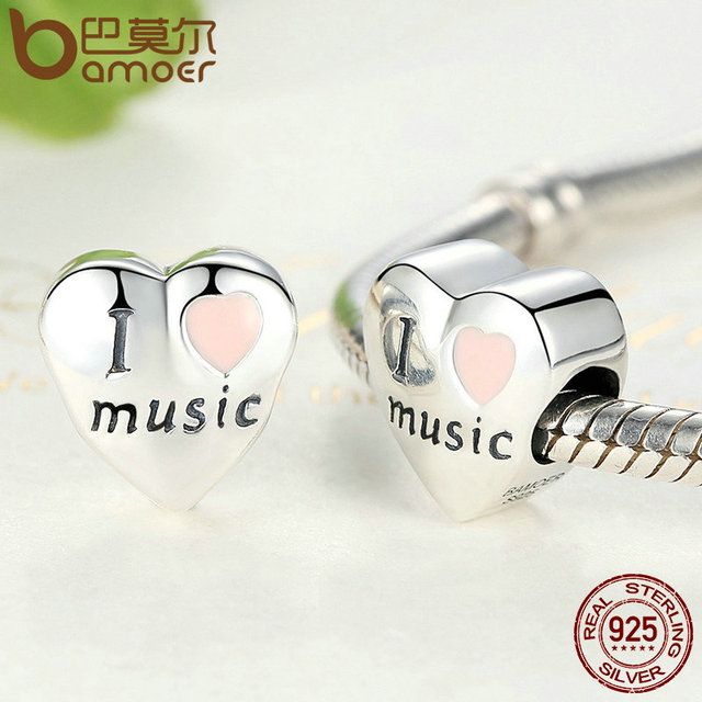 Sterling Silver I Love Music Heart Beads Fit Charm