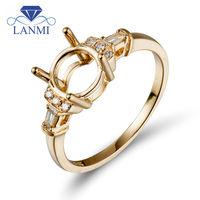 Women Round 6.5mm Solid 14K Yellow Gold Diamond Setting Semi Ring Mount Wholesale Price G090433