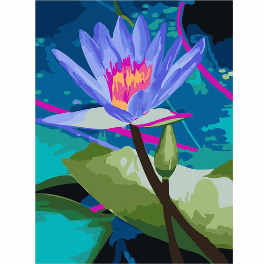 WEEN Blue Lotus-Abstract Painting By Numbers Kit For Beginner, Modern Wall Picture For Home Artwork,Diy Paint By Numbers 40x50cm