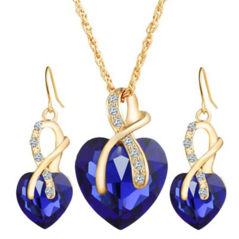 Korean Double Heart Crystal Love Womens pendant Long necklace set for girls gift