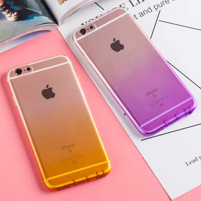 For Apple iPhone 6 6s 4.7inch Phone Case Transparent Gradient Color Soft Silicone Capa Fundas Shell Protector with Dust plug