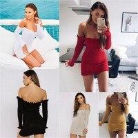 AI&CLOUD 2017 Women Dresses One Shoulder Sexy Knitted Mini Dress Long Sleeve Bodycon Sheath Pack Hip Dress Vestidos