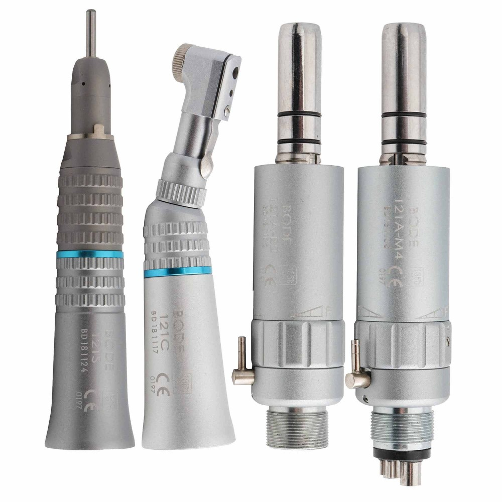 Dental Low Speed Handpiece Kit Air Turbine Straight Contra Angle Air Motor 2/4Holes Available BODE title=