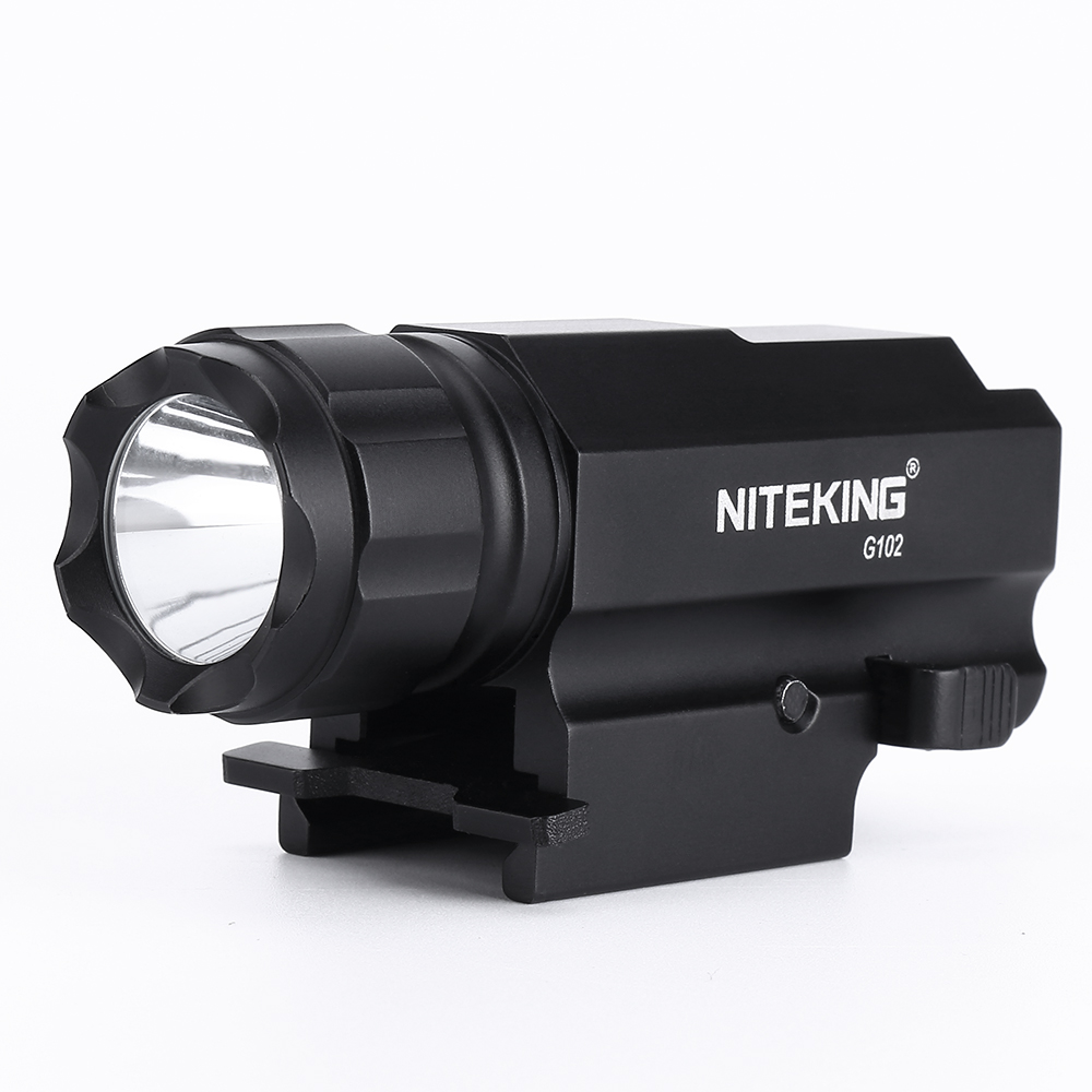 NITEKING G102 LED-pistool Tactisch pistool Zaklamp Zaklamp 1600LM CREE-XP-G R5 2 modi LED-flitslicht Lanterna met 20 mm scope-bevestiging