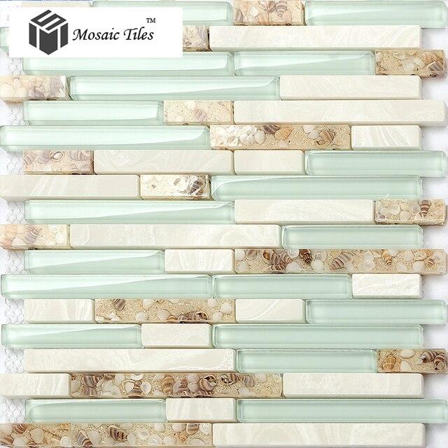 Tst Glas Mosaiken Strand Stil Perlmutt Fliesen Weiss Stein Mosaik