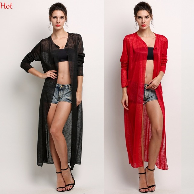 2017 New Sheer Cardigan Women Loose Long Blouses Shirt Summer ...