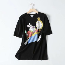 Loose Rabbit watc Printed Tees Womens Cartoon Animal Printed Tops Women Graphic Summer Tees Female Black Couple Tops EB5(China)