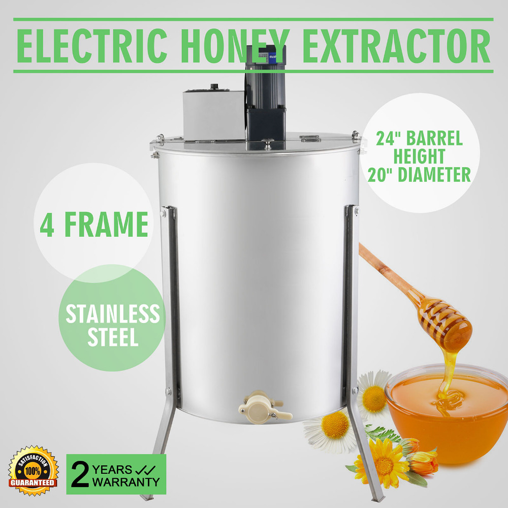 Free Duty For EU,RU  4 FRAME ELECTRIC HONEY EXTRACTOR  Brand New Large Four  4 Frame Stainless Steel Electric Honey Extractor