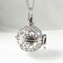 Julie Wang 1PC Women Necklace Hollow Silver Plated Ball Shape Essential Oil Diffuser Perfume Oval Copper Locket Necklace