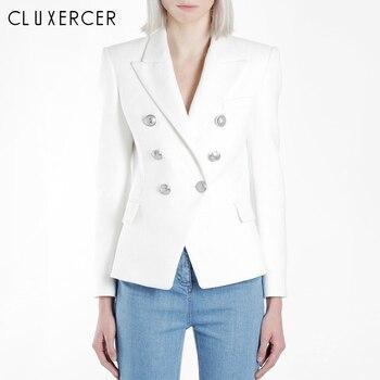 High Quality Ladies Blazer Long Sleeve Blaser Women Suit Jacket Female Feminine Blazer Femme Classic Black White Formal Coats jacket women white blazer ladies white long blazer jacket white tripe long blazer women top lf19ow0934