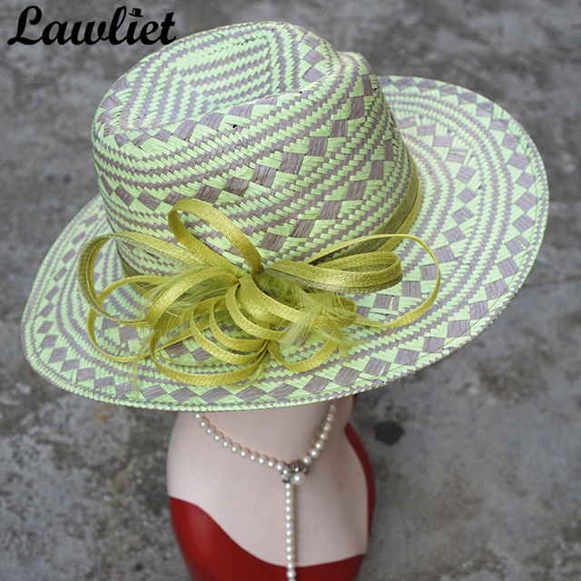 Wide Brim Fedora Hat Woven Paper Straw Sun Hats Green Sinamay Tropical  Women Summer Hats Floral b82b3c7f32d