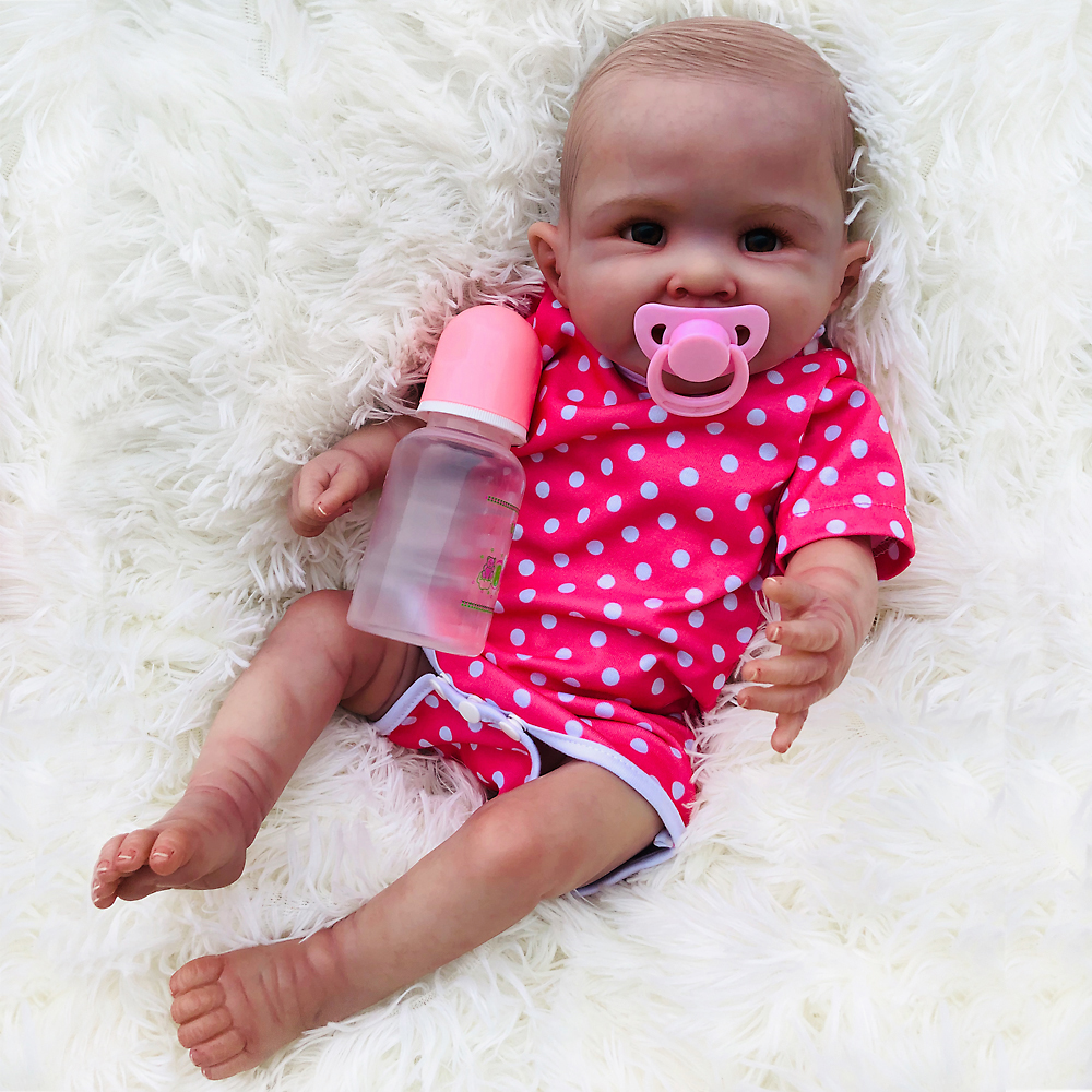 50cm 0-5 Month Silicone Body Reborn Baby Doll girls bath Toys High-end boutique bebes reborn corpo de inteiro realista kids gift