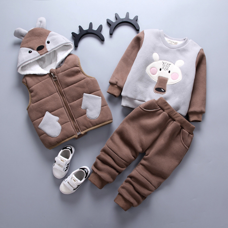 Baby Boys Girls Clothing Sets 2017 Winter Warm Boys Vest +Long sleeves+ Pants 3Pcs Thicker Sets Hooded Kids Clothes Suit 2015 new autumn winter warm boys girls suit children s sets baby boys hooded clothing set girl kids sets sweatshirts and pant