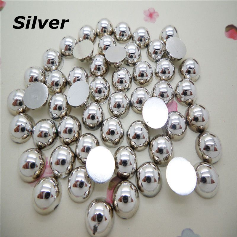 Free Shipping 12mm 300Pcs Silver Craft ABS Half Round Flatback Pearls,Loose Imitation Pearl Beads For DIY Decoration