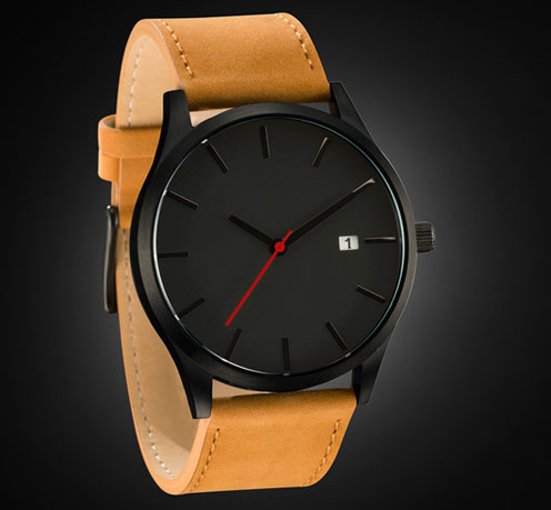 Elegant Watch Men Black Case Black Dial Face Black hands with Red second hand Japanese Movement