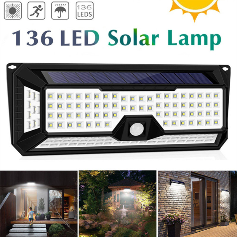 136 LED 1810LM Garden Solar Lights Solar IP67 Waterproof LED Wall Light Outdoor 3 Modes 270 Degree Solar PIR Motion Sensor Lamp
