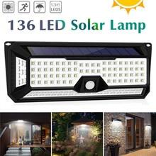 136 LED 1810LM 정원 태양 조명 태양 IP67 방수 LED 벽 조명 야외 3 모드 270 학위 태양 PIR 모션 센서 램프