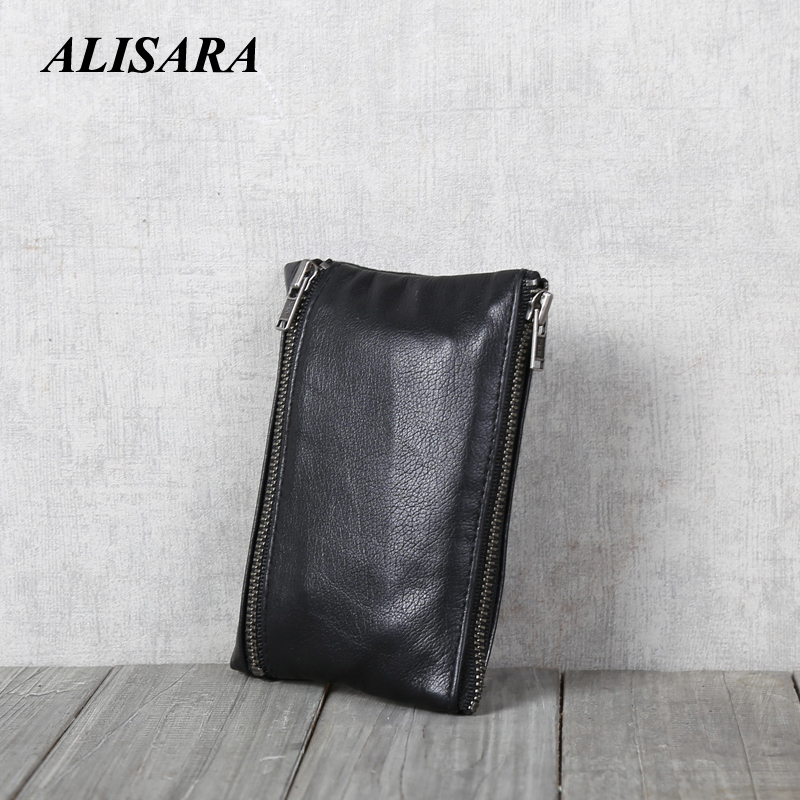 Alisara Genuine Leather Wallets Men Double Zipper Purses Coin Purses Card Holder Slim Wallets Case Male Wallet Pouch
