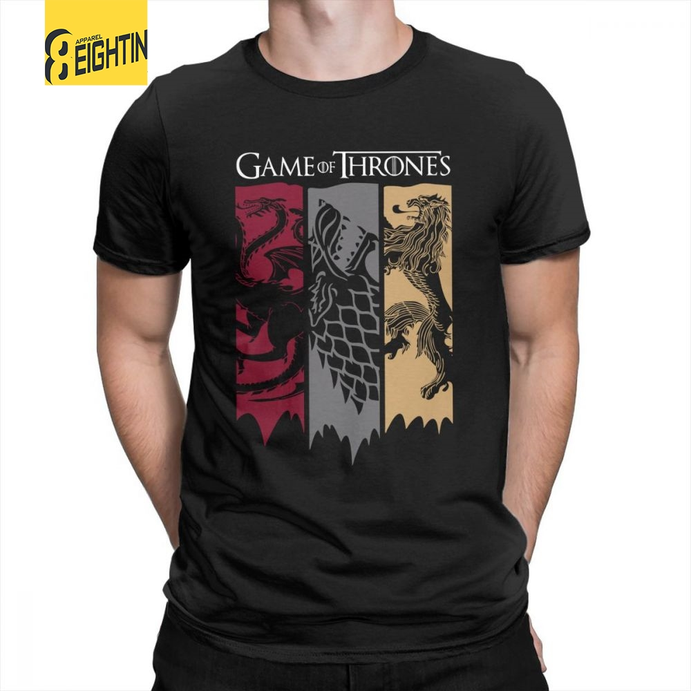Game Of Thrones   T     Shirt   For Men Movie House Stark Tees Targaryen Lannister   T  -  Shirt   100% Cotton Short Sleeves Plus Size Tops
